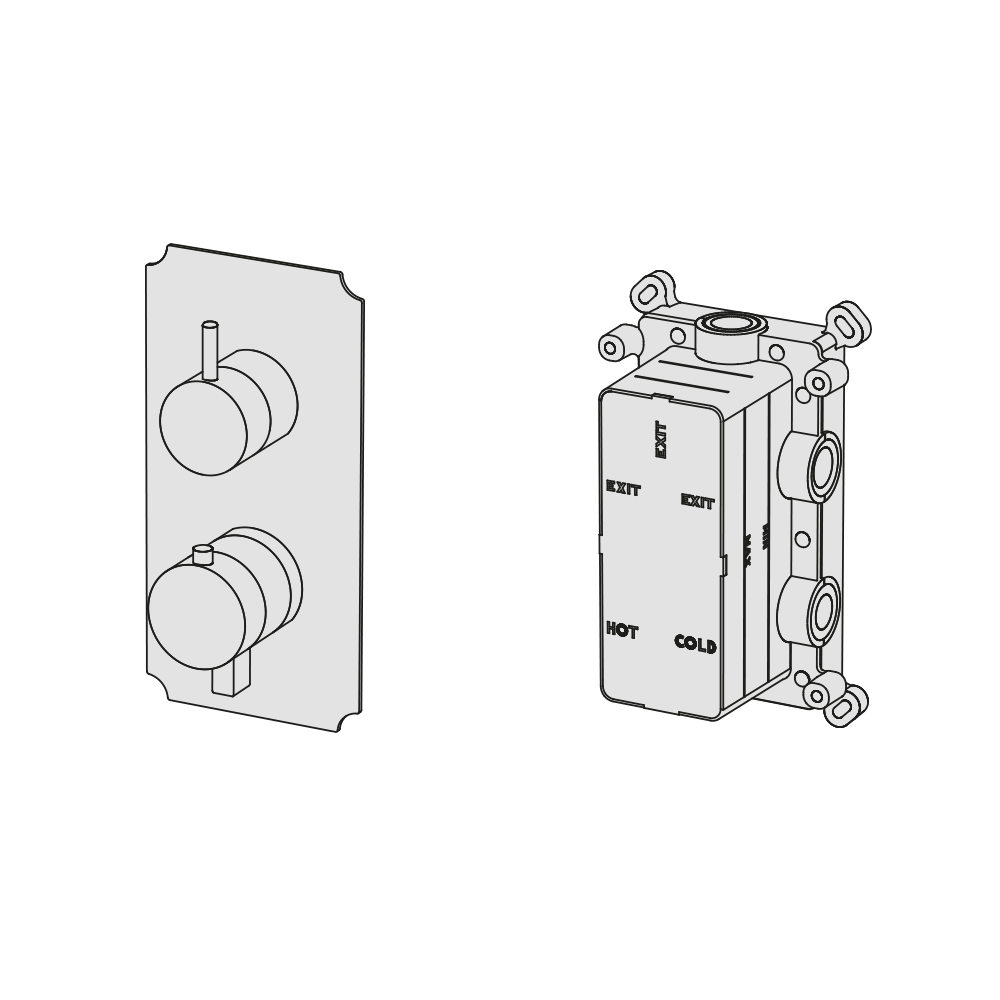 Multiplo 2-way thermostatic mixer