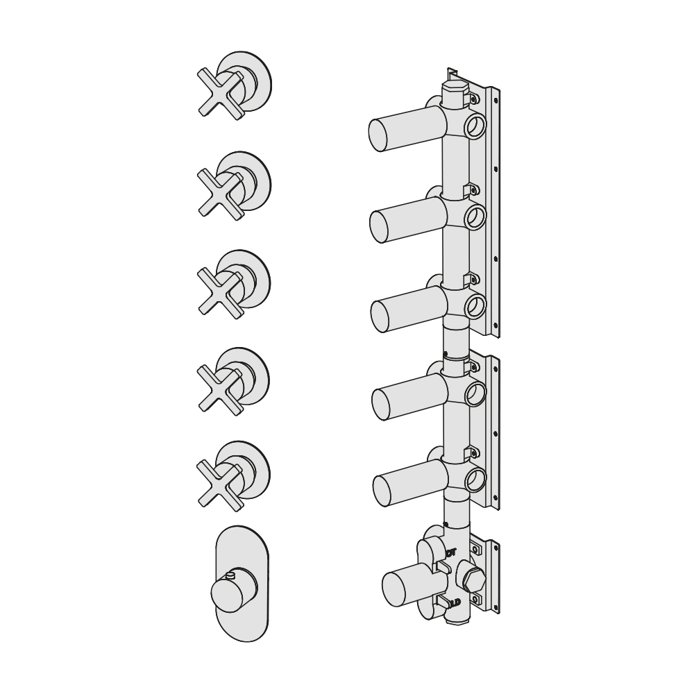 Shower mixer with 5 manifolds