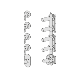 Shower mixer with 4 manifolds