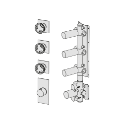 Shower mixer with 3 manifolds