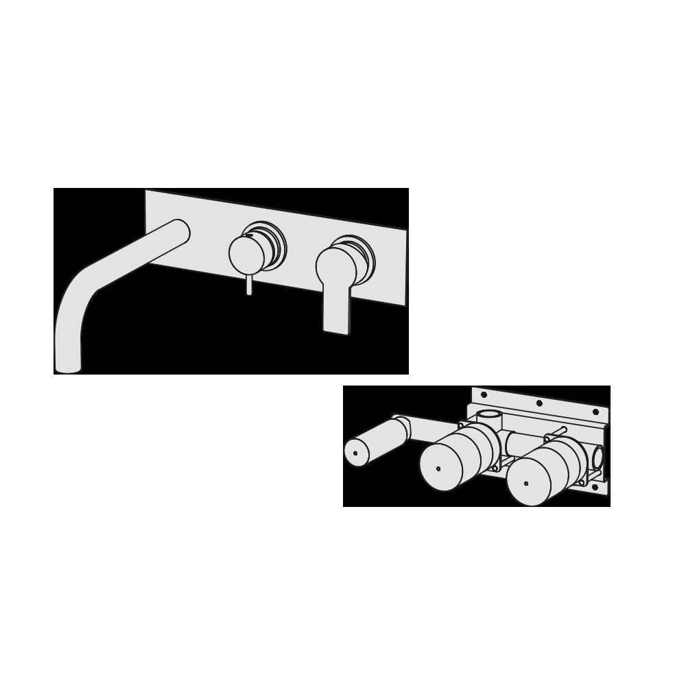 Horizontal manual bath mixer