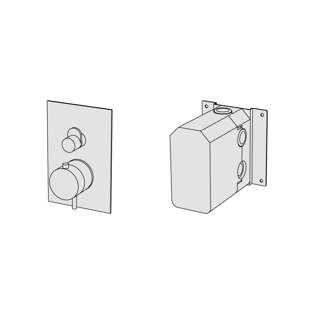 Coaxial thermostatic with 3 ways diverter